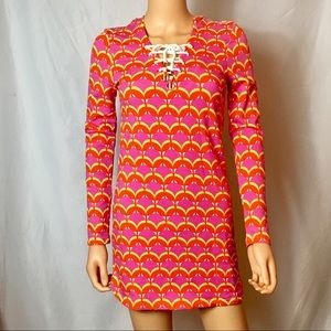 Hooded Lace Up Sheath Dress/Coverup